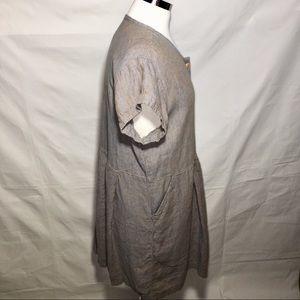 Flax Dresses - FLAX 100% Linen lagenlook babydoll dress SMALL